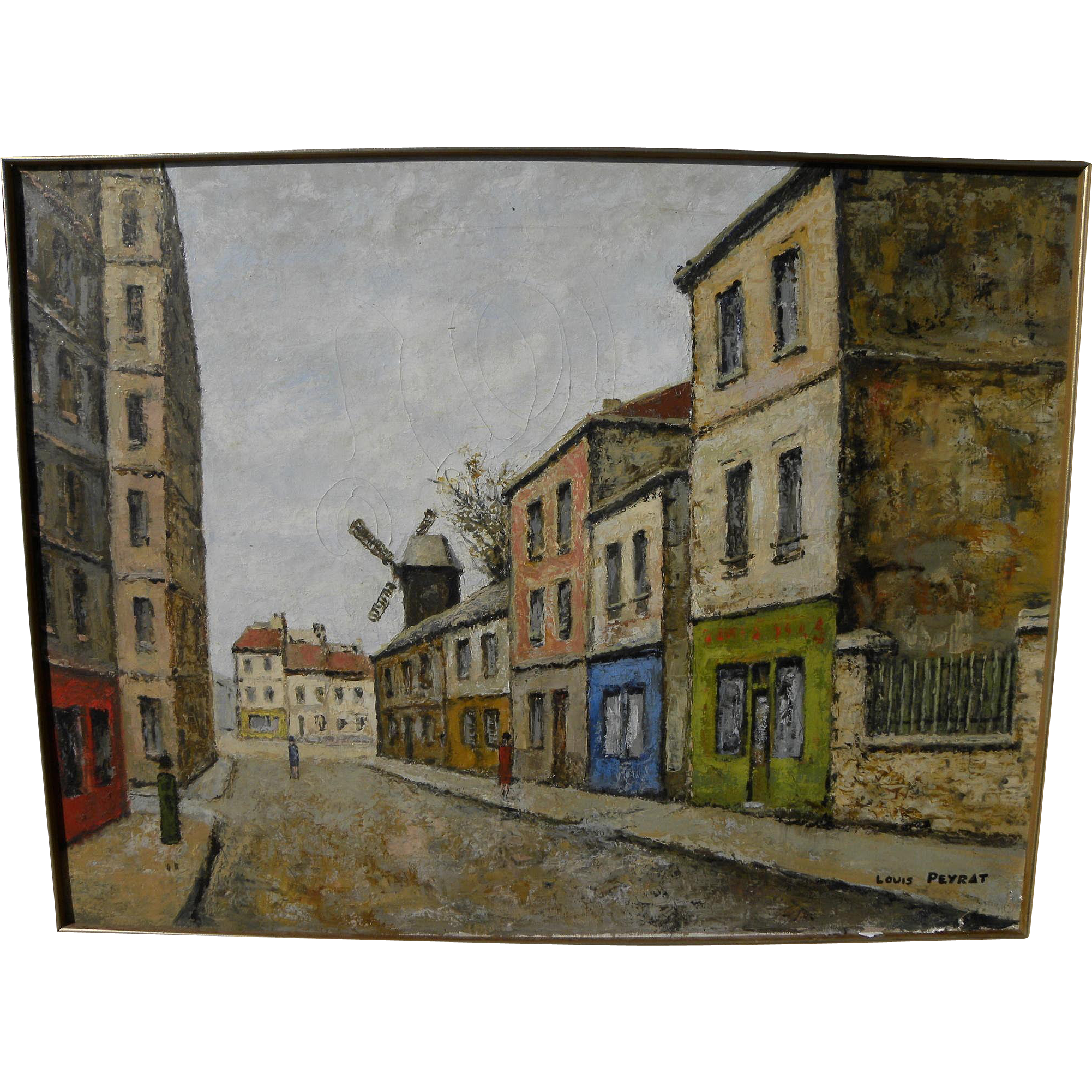LOUIS PEYRAT (1905-1999) painting of Montmartre by noted French naive style artist