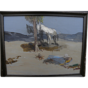 Western painting with horses in desert landscape likely by James Swinnerton or Bill Bender