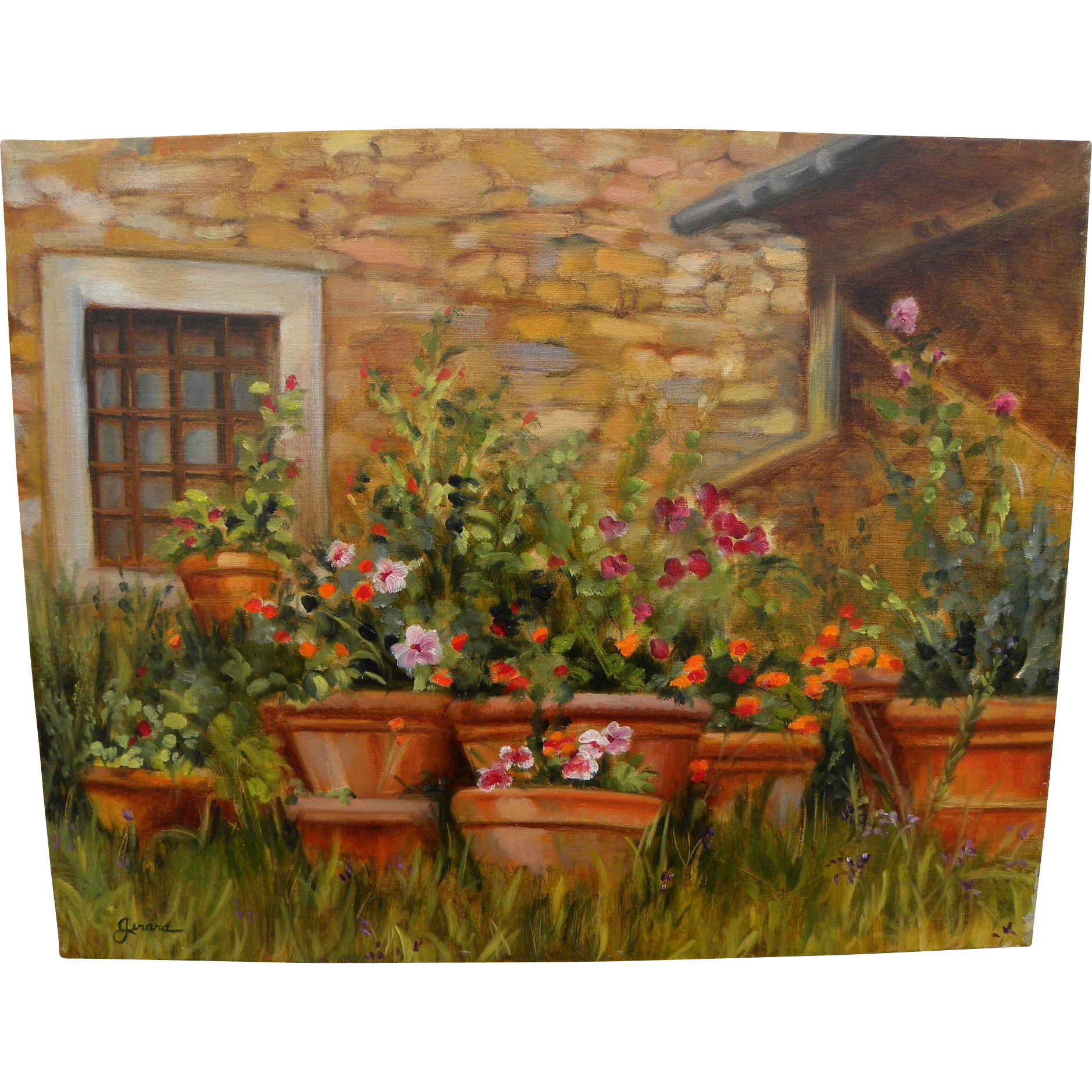 "CARIN GERARD (20th Century California) impressionist 1999 painting ""Terra Cotta Pots With Flowers"""