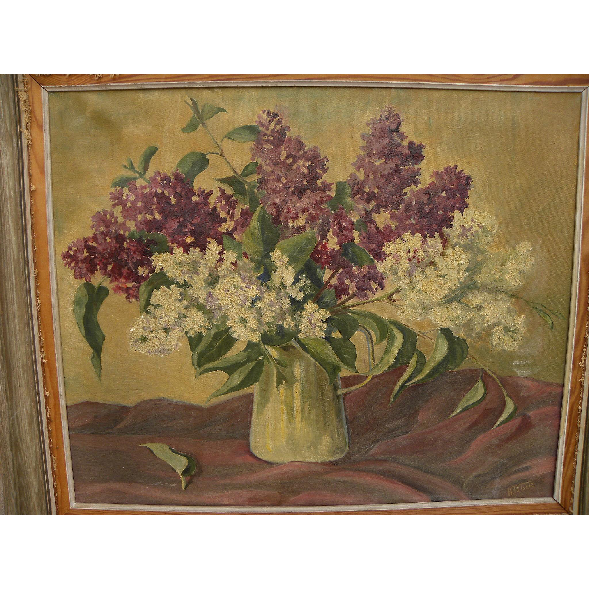 Vintage still life painting of purple and white lilac in vase signed A. Teder
