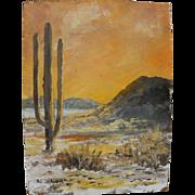 BILL SHADDIX (1931-) impressionist oil sketch painting of the Arizona desert