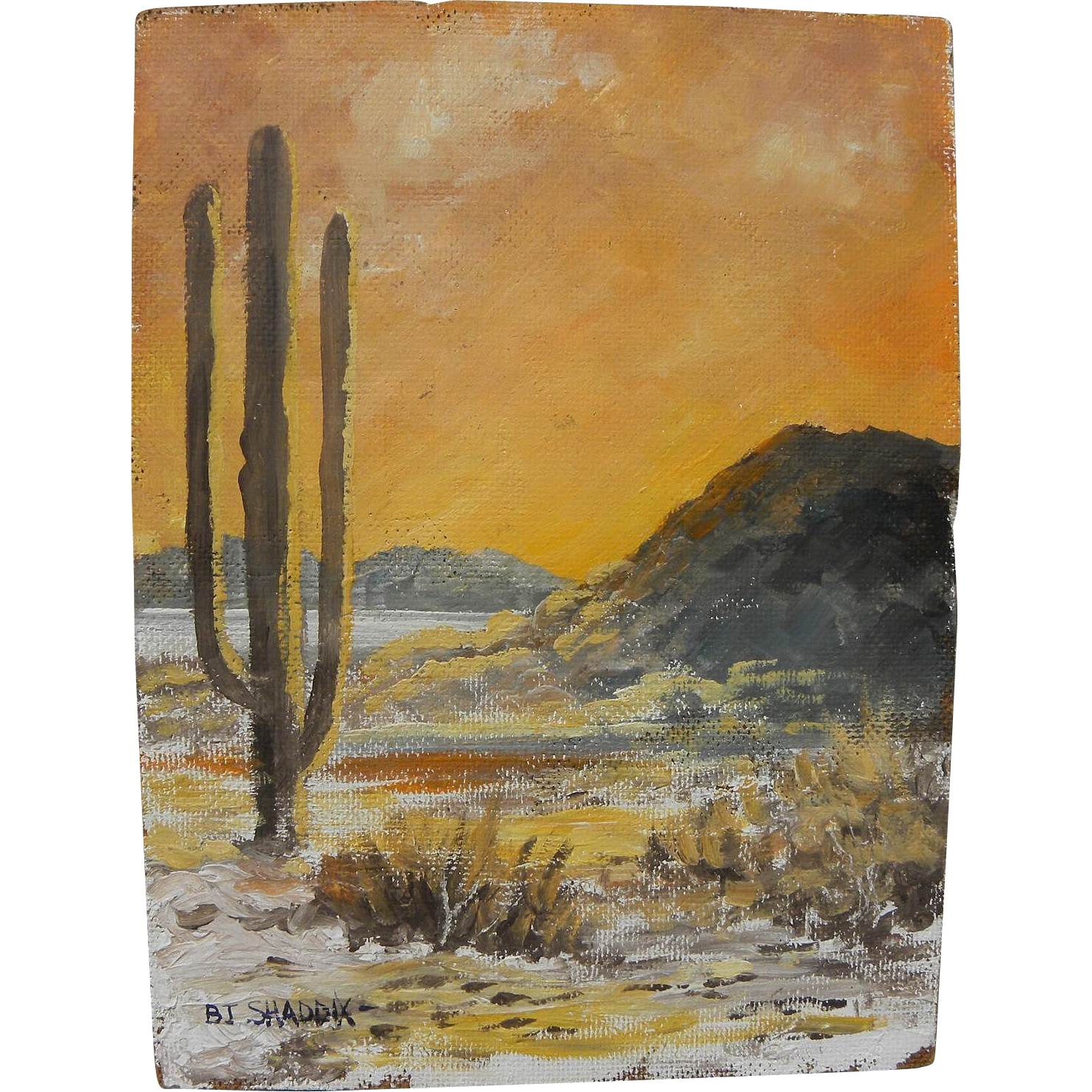 BILL SHADDIX (1931-) impressionist oil sketch painting of the Arizona desert