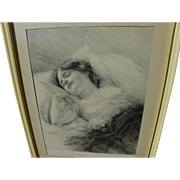 OTTO GOETZE (1868-1945) fine etching of sleeping young woman by German-born artist