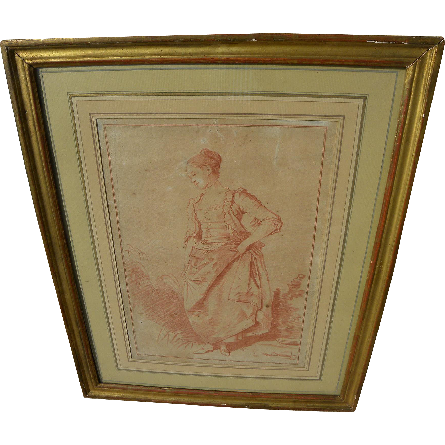 GILLES DEMARTEAU (1722-1776) nicely framed crayon-style 18th century engraving of a lady after painting by Jean-Honore Fragonard (1752-1806)