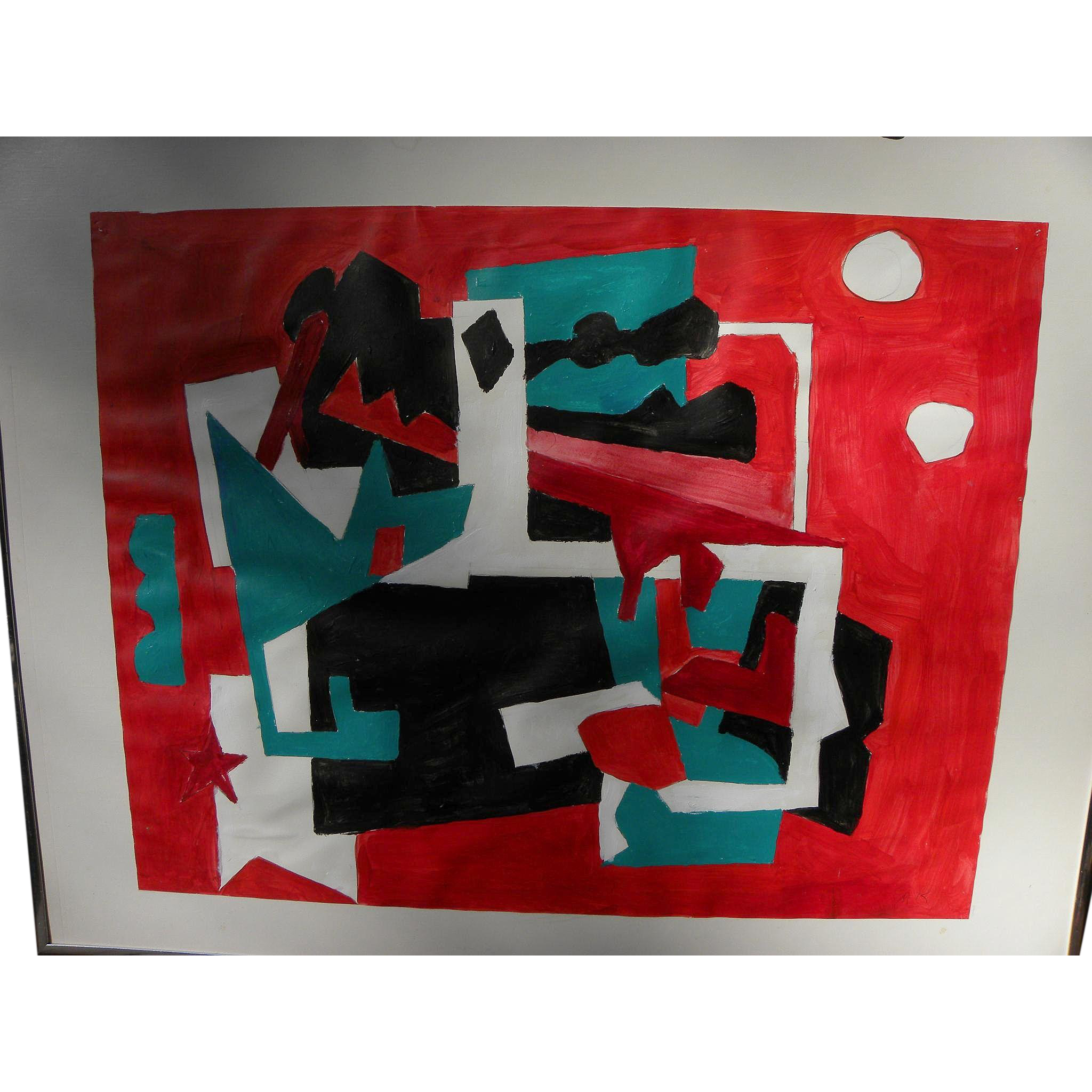 Bold abstract painting on paper signed M K