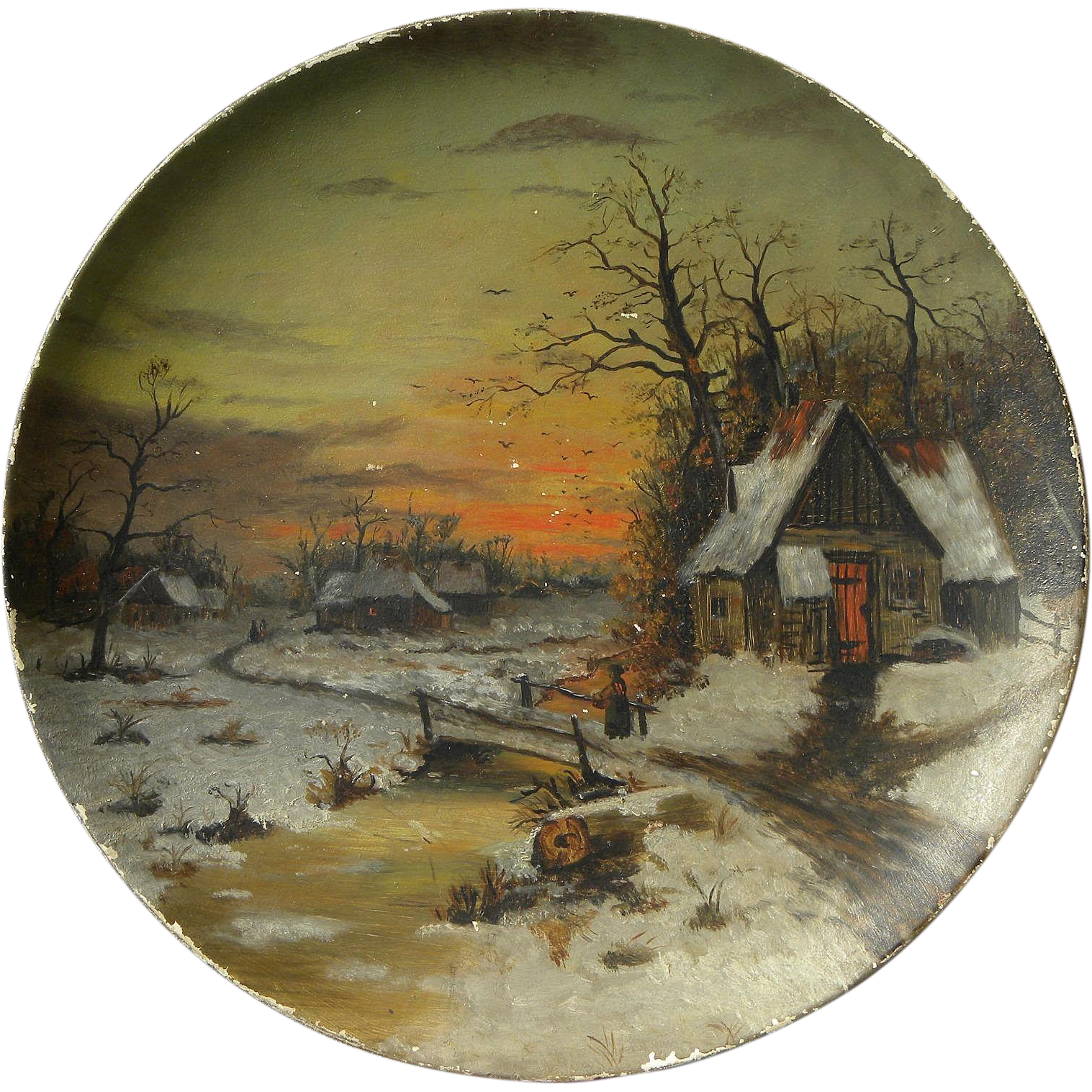 American 19th Century Landscape Painting On Round Papier