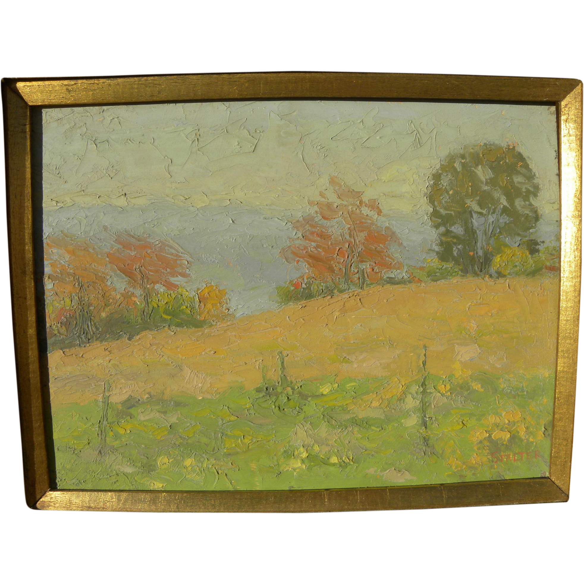 RICHARD STALTER (1934-) painting of Connecticut landscape by noted contemporary American Impressionist