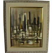 OZZ FRANCA (1928-1991) painting of city skyline by acclaimed CaliforniaMid Century artist
