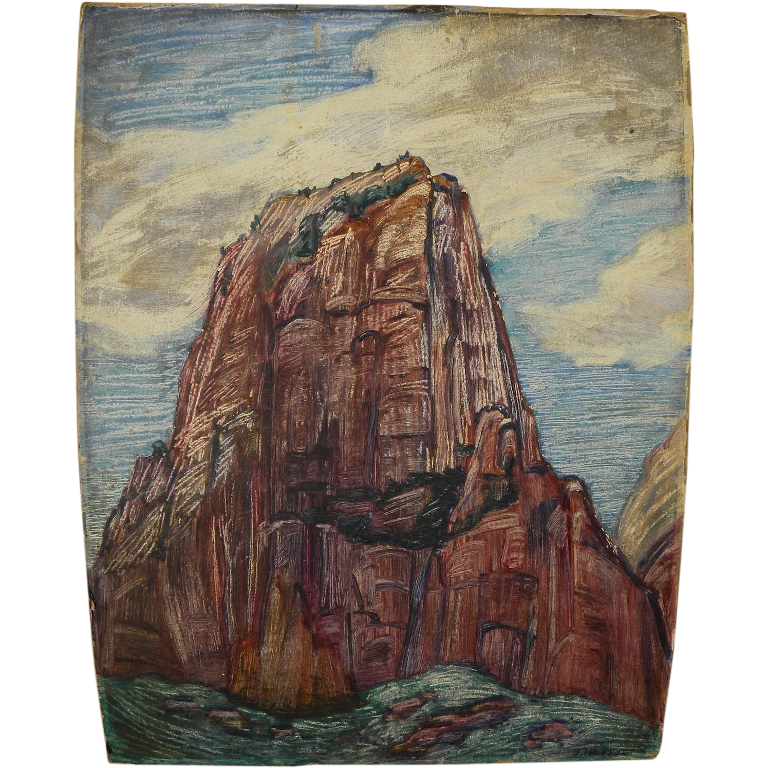 ADELE WATSON (1873-1947) painting of Zion National Park Utah by noted California modernist artist