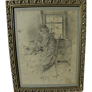 CHARLES A. FRIES (1854-1940) early pencil drawing of his aunt Maude by the noted San Diego California impressionist artist