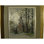 HANS FIGURA (1898-1978) Independence Hall pencil signed print on silk by the noted Austrian artist