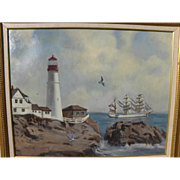 Marine painting of coastal lighthouse and Portuguese tall ship signed by gallery artist CRAIG SMITH