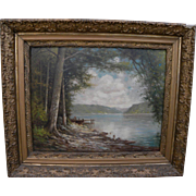 ELBRIDGE J. FENN (1857-1934) nicely framed vintage painting of upstate lake landscape by listed New York artist