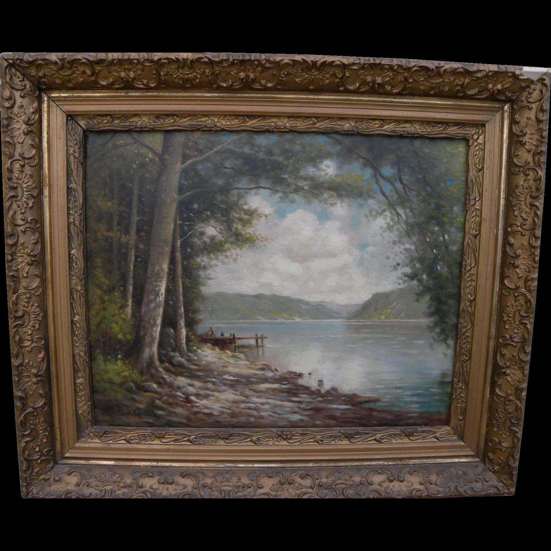 ELBRIDGE J. FENN (1857-1934) nicely framed vintage painting of upstate lake landscape by listed New York artist