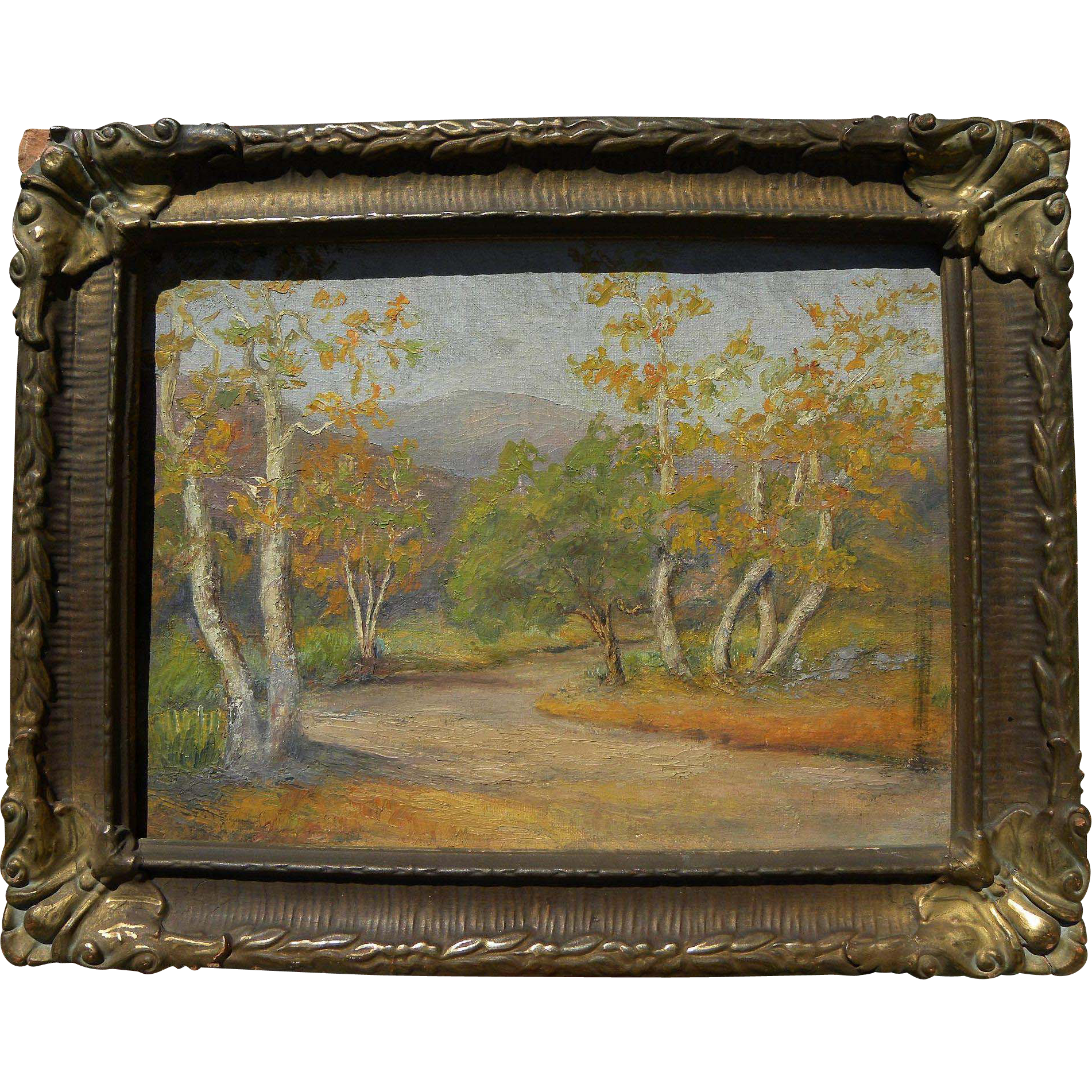 California plein air art painting of trees at the base of the mountains in autumn