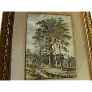 19th century antique ink and watercolor drawing of ancient tree in forested landscape with figures