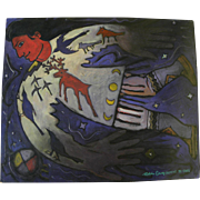 Santa Fe Style whimsical contemporary painting of a Native American by contemporary artist ROBIN GARY WOOD, Taos New Mexico 1992