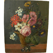 19th century antique floral still life painting in style of 17th century Holland