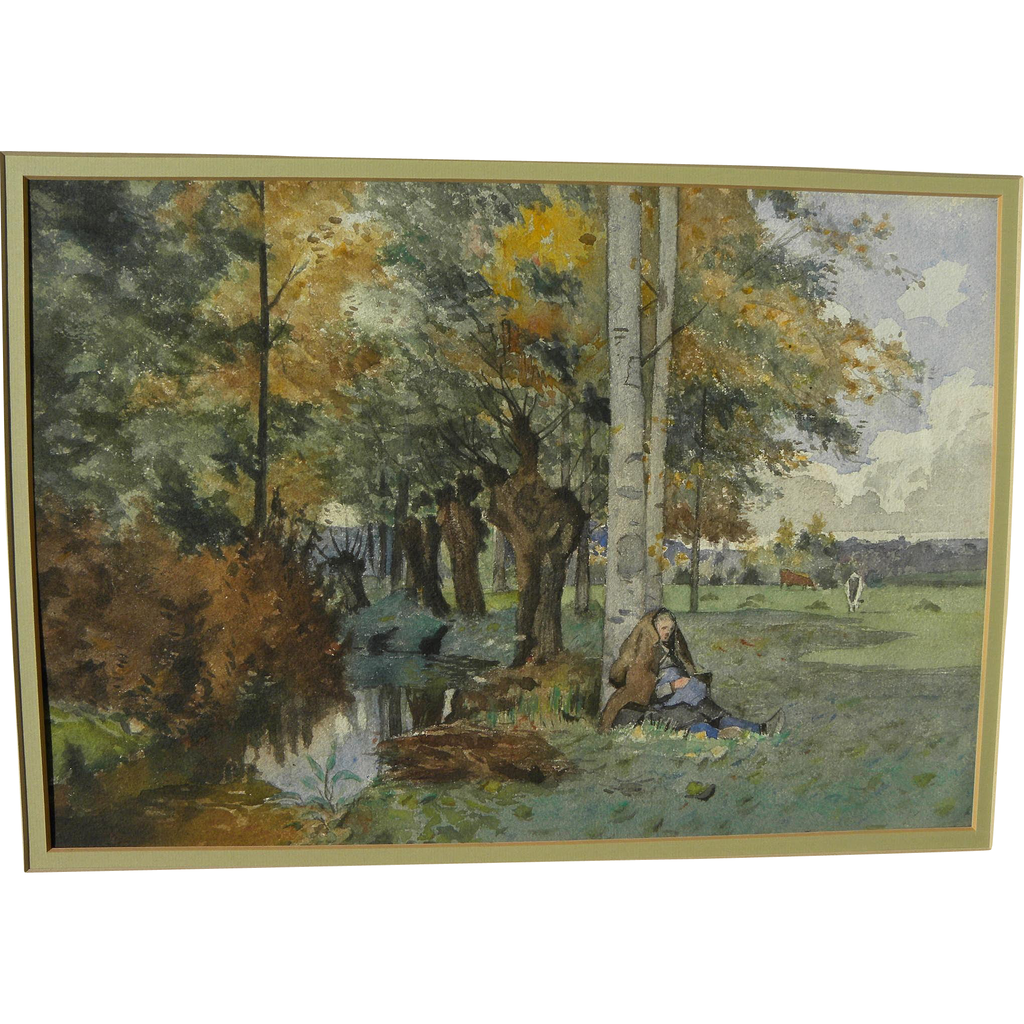 19th century European watercolor painting of a lady in a rural landscape
