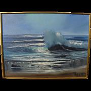 VIOLET PARKHURST (1921-2008) impressionist coastal seascape painting by popular California artist