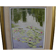 RON SIMPKINS (1942-2008) impressionist painting of water lilies by listed Canadian artist