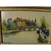 FERNAND GUIGNIER (1902-1972) watercolor painting of the Seine River and Notre Dame in Paris by listed mid century French artist