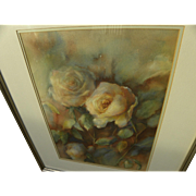 Watercolor painting of roses signed Jean Percival