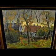 EINAR VILHELM BOGH (1877-1938) Scandinavian art impressionist painting of houses in autumn