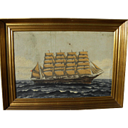 Marine art Danish circa 1900 painting of a large masted ship at sea signed H J ENGMANN