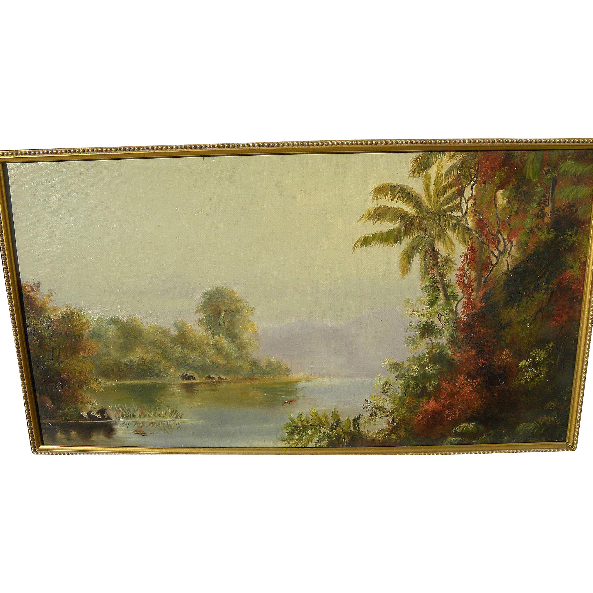 Atmospheric late 19th century tropical landscape painting in style of California artist Norton Bush