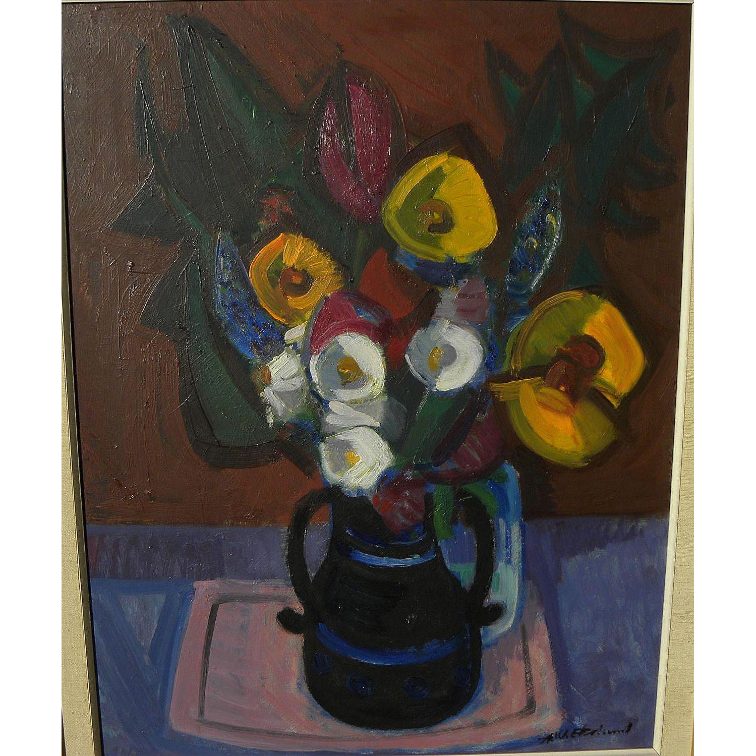 AXEL EKELUND (1919-) modernist still life painting by listed Swedish artist