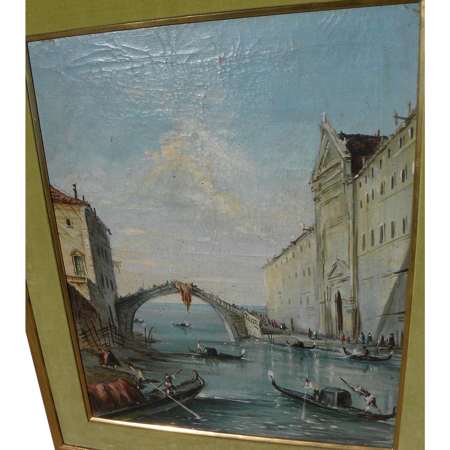 Antique painting of Venice Italy gondolas and architecture in the style of 18th century Old Master Francesco Guardi