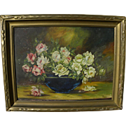 Vintage early 20th century roses still life painting