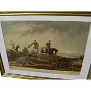 "HENRY GILBERT-JONES (1804-1888) early rare original watercolor painting ""Jackall Hunting in India"" by historical English-Australian artist"