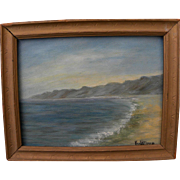 California plein air art small painting of the coastline at Santa Monica