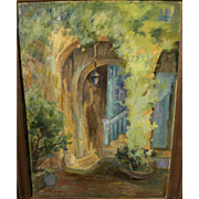 ALBERTA KINSEY (1875-1952) Louisiana art impressionist painting of New Orleans courtyard by art colony founder