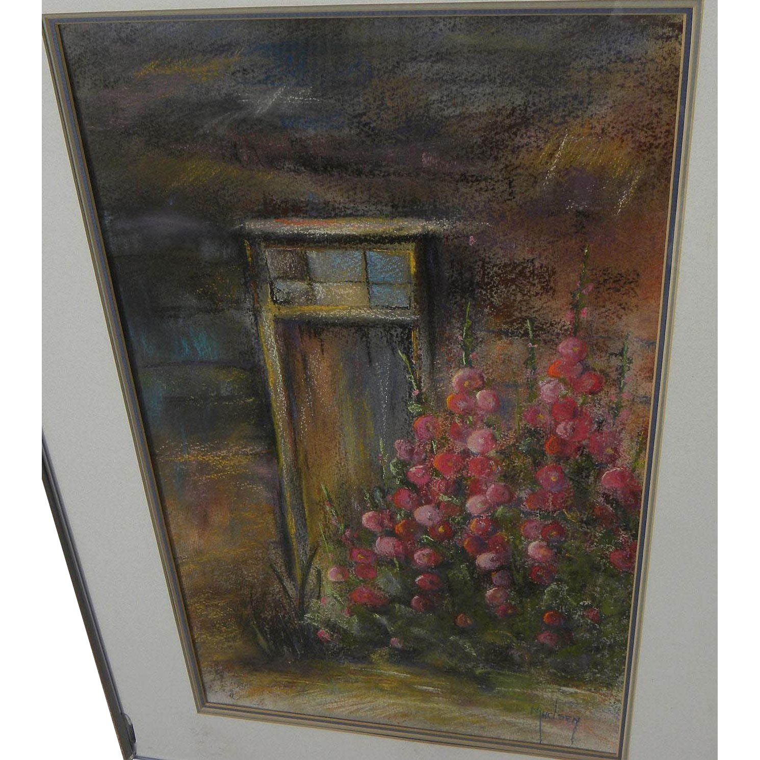 Southwest art original pastel drawing of hollyhocks and door frame in New Mexico by gallery artist Mary Madsen