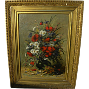 EUGENE PETIT (1839-1886) fine nineteenth century floral still life painting by noted French artist