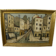 CHARLES LEVIER (1920-2004) large painting of French street scene by the well known contemporary artist