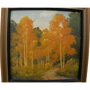 WILLARD PAGE (1885-1958) Southwestern art miniature landscape painting of flaming aspen in the fall