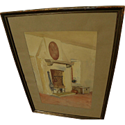 Vintage signed watercolor painting of whitewashed interior with hearth