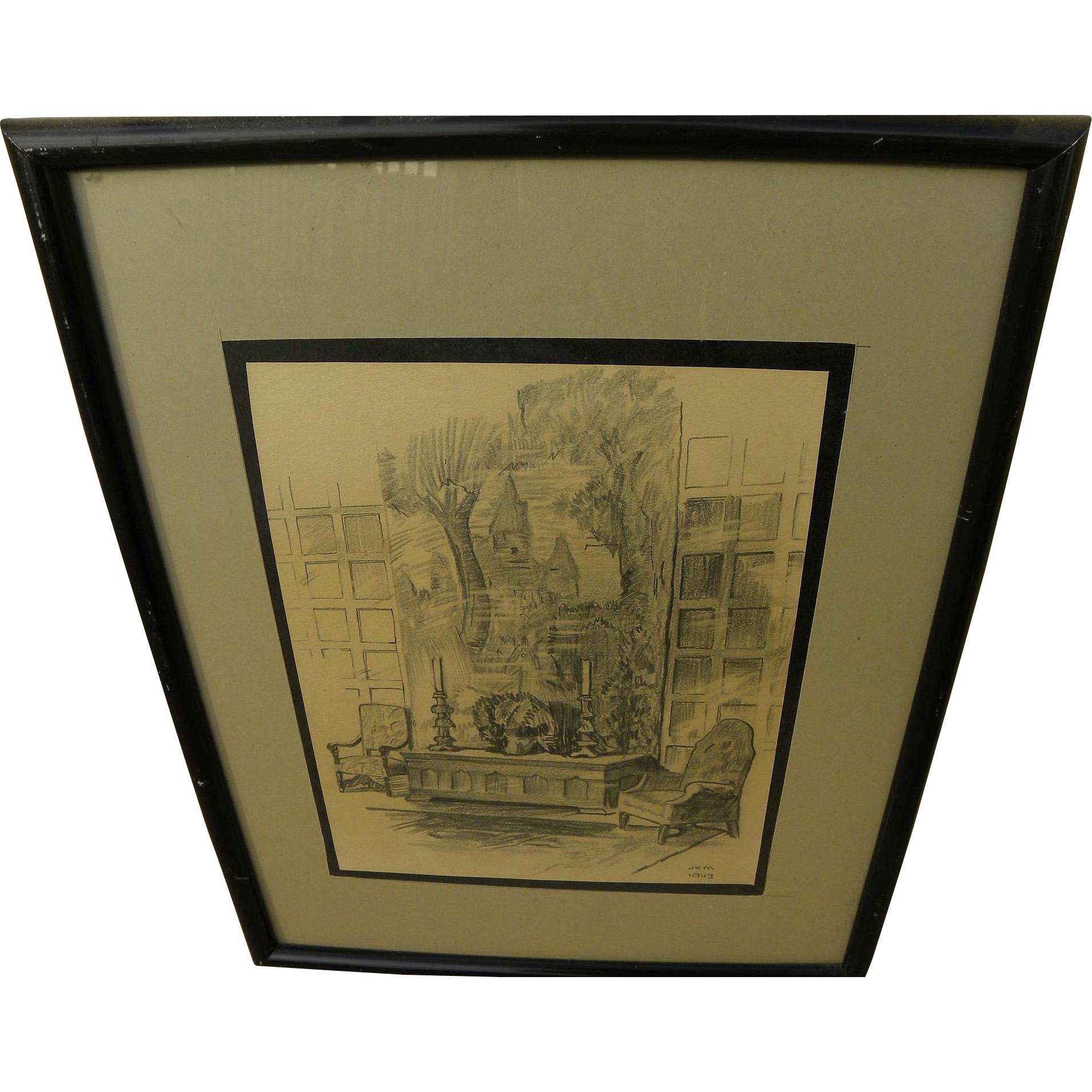 JOHN RICHARD MOORE (1925-2009) early pencil drawing by cinematographer co-founder of Panavision