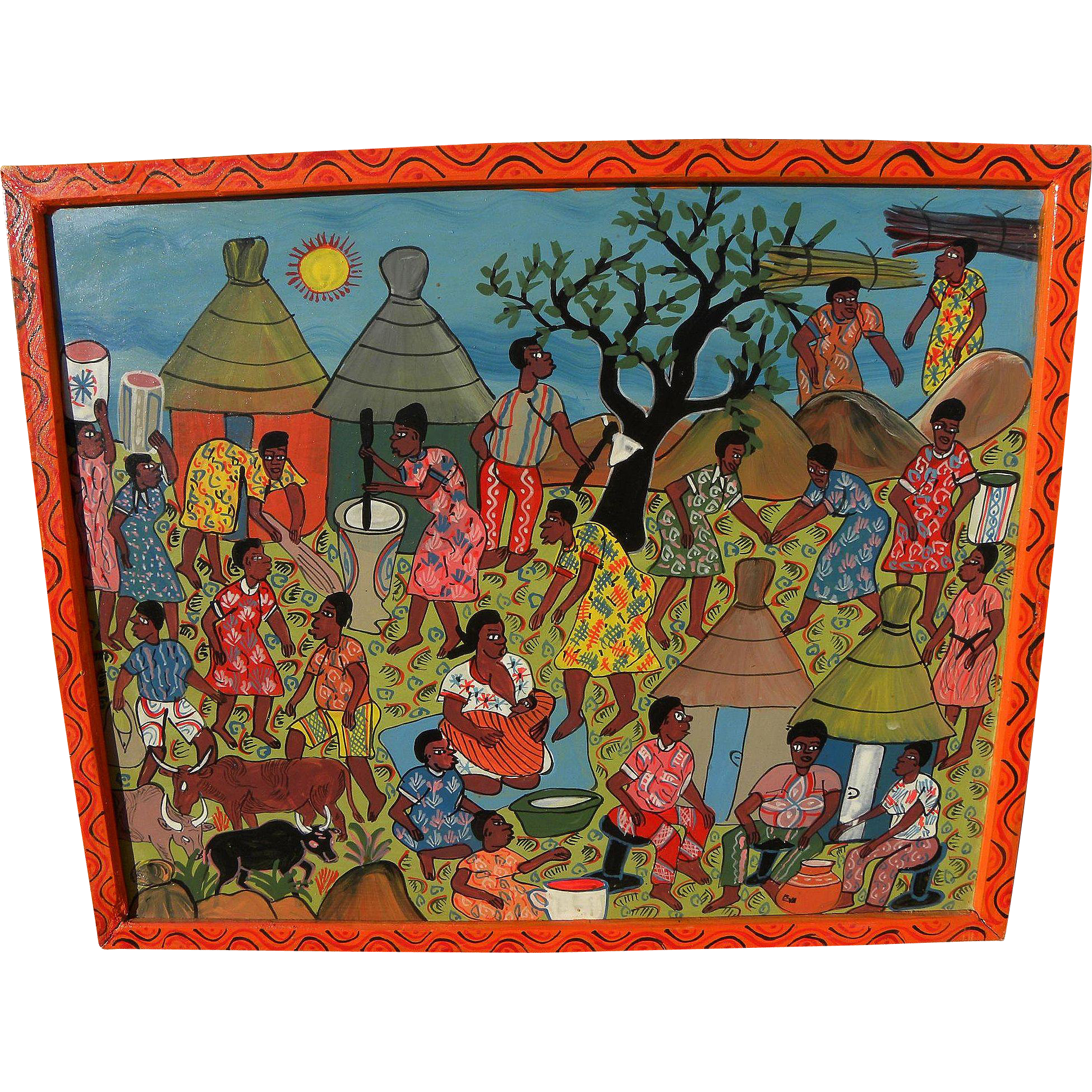 Colorful African contemporary art naive painting of villagers in daily routines