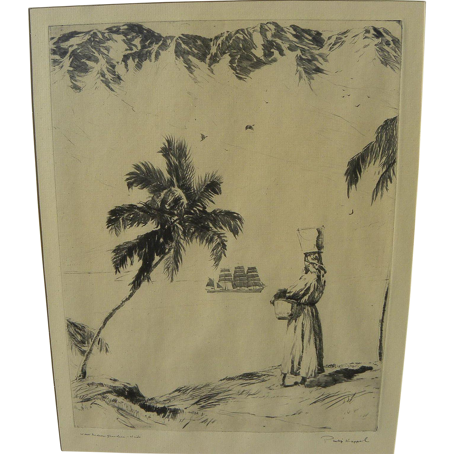 PHILIP KAPPEL (1901-1981) pencil signed etching print of Caribbean scene by noted Connecticut artist