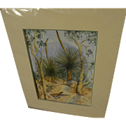 Signed contemporary watercolor painting of arid landscape with lizard and eucalyptus likely Australian