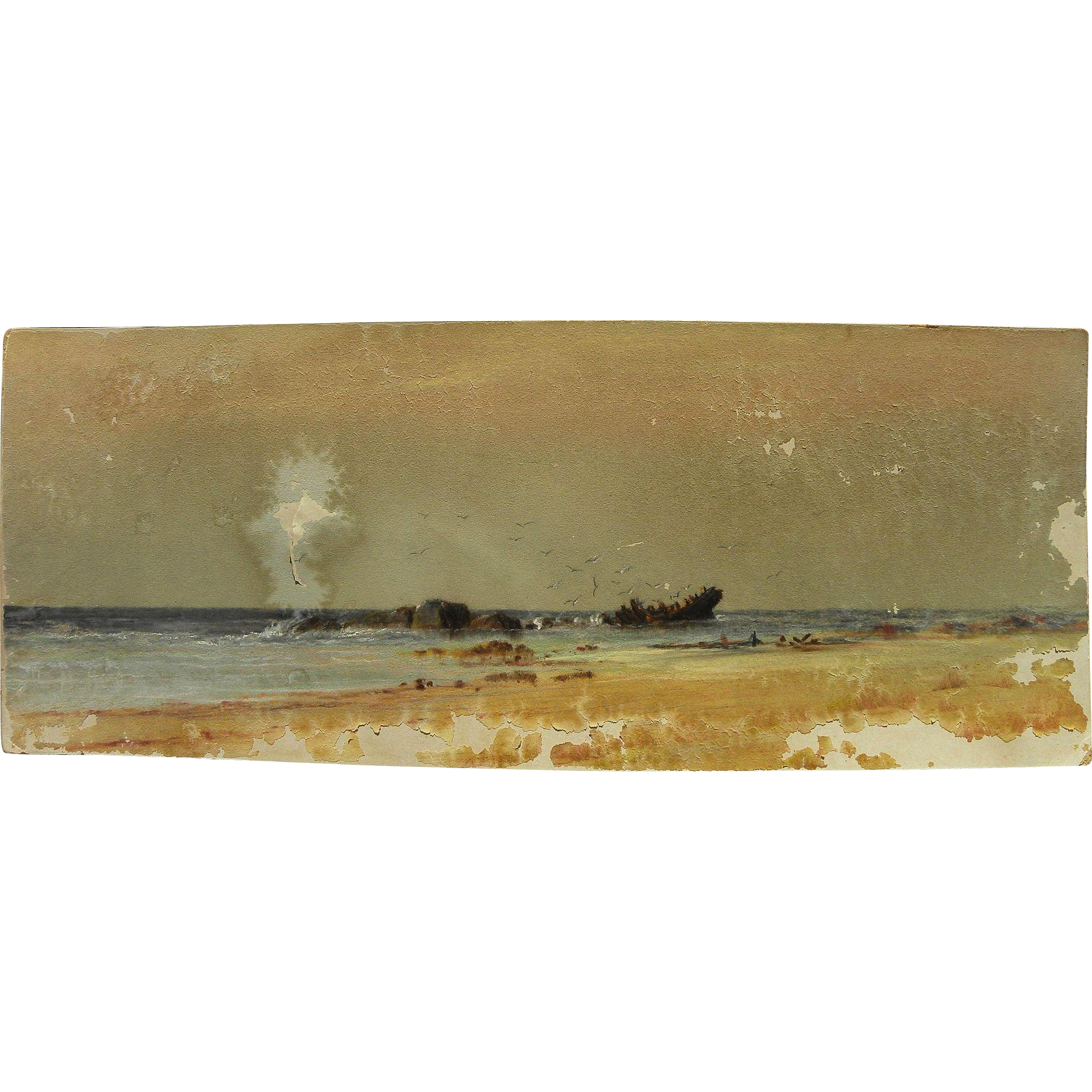 American pastel drawing of wreck on a coastline possibly by Alfred Thompson Bricher (1837-1908) as-is condition