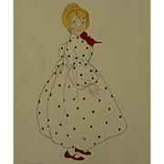Drawing of young girl in polka dot dress possibly children's book illustration art signed Catherine Meecham 1957