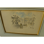 ANDRE HAMBOURG (1909-1999) fine pencil and watercolor drawing of Paris by the noted French Post-Impressionist artist