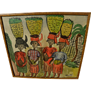 Haitian art naive vintage watercolor painting of women balancing baskets on heads