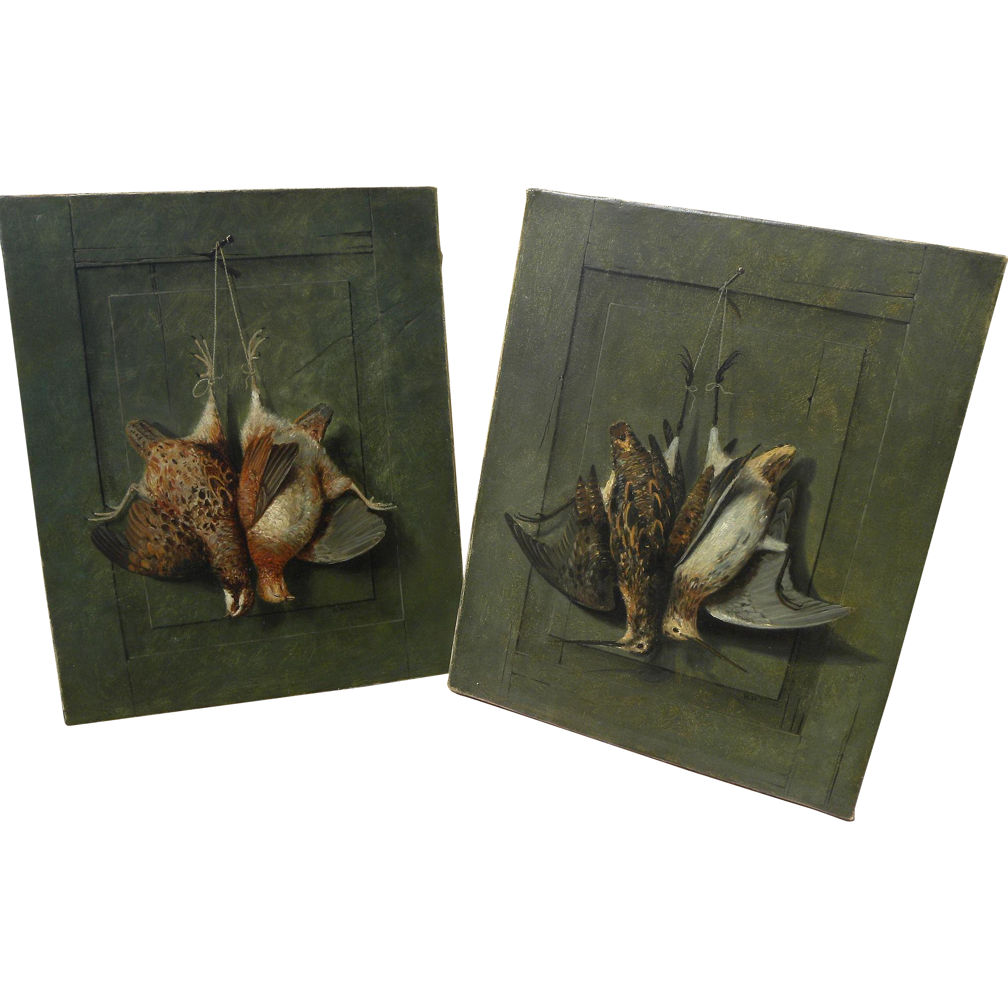 HENRY H. CROSS (1837-1918) American sporting art **pair** of still life trompe l'oeil paintings of hanging game birds
